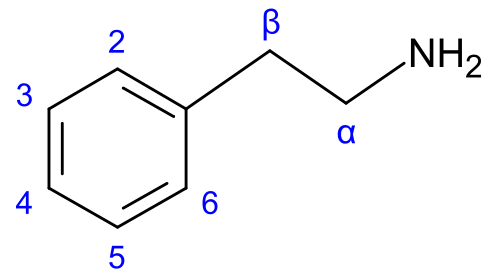 Файл:Phenylethylamine numbered.png